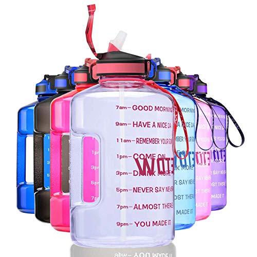 ETDW 3,78L Groß Sportflasche mit Strohhalme BPA Frei, Wasserkanister trinkflasche mit Starkem Griff Transparentes Posa