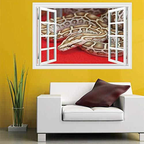 LWQHJJJ DIY entfernbare 3D-Ansicht Python Fenster Wandaufkleber Kunst Wandbild Papier Büro Home Dekoration