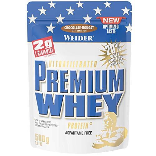 Weider Premium Whey Proteinpulver, Low Carb Proteinshakes mit Whey Protein Isolat, Schoko-Nougat, (1x 500g)