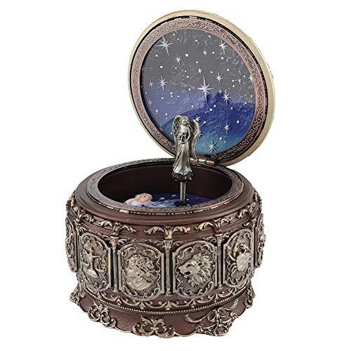 Aufee Spieluhr, 12 Sternbilder Vintage Spieluhr, rotierende Spieluhr mit funkelndem LED-Licht für Geburtstag, Party, Valentinstag, Weihnachten, Muttertag(Waage)