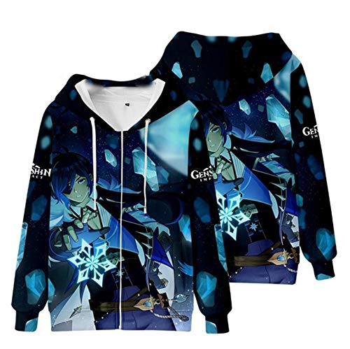 Genshin Impact Print Zip Down Sudaderas con Capucha Manga Larga Hot Game Hooded Hombres Mujeres