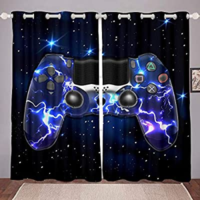 GOOESING Galaxy Gamepad Curtains Purple Lightning Design Gamepad for Video Game Gamepad Game Controller Blackout Window Curtains Home Decor for Living Room Bedroom (Set of 2 Panels - 42Wx63L)