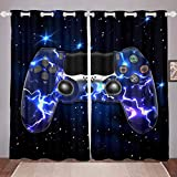 GOOESING Galaxy Gamepad Curtains Purple Lightning Design Gamepad for Video Game Gamepad Game Controller Blackout Window Curtains Home Decor for Living Room Bedroom (Set of 2 Panels - 52Wx84L)