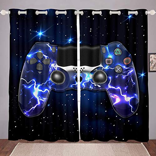 GOOESING Galaxy Gamepad Curtains Purple Lightning Design Gamepad for Video Game Gamepad Game Controller Blackout Window Curtains Home Decor for Living Room Bedroom (Set of 2 Panels - 52Wx63L)