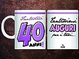 dor Partycolarità Tazza in Ceramica 40 Anni Grande - Tazza per Regalo 40 Anni - Fantastici 40 Anni