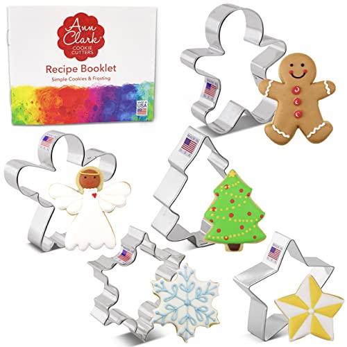 Ann Clark Cookie Cutters 5-częściowy zestaw foremek do ciastek na Boże Narodzenie i wakacje z broszurą z przepisami, płatkiem śniegu, gwiazdą, choinką, piernikowym człowiekiem i aniołem