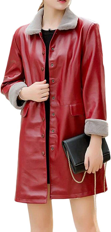 Etecredpow Women's Single Breasted Overcoat Thick Fleece Winter PU Leather Parka Coat