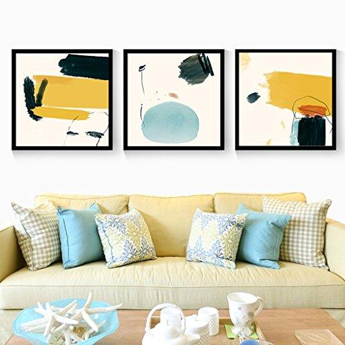 Everyday home 3 Multi murale Set bois massif Continental style simple Triptyque salon murale pour salon/avec des photos (Couleur : Black box, taille : 60 * 60cm)