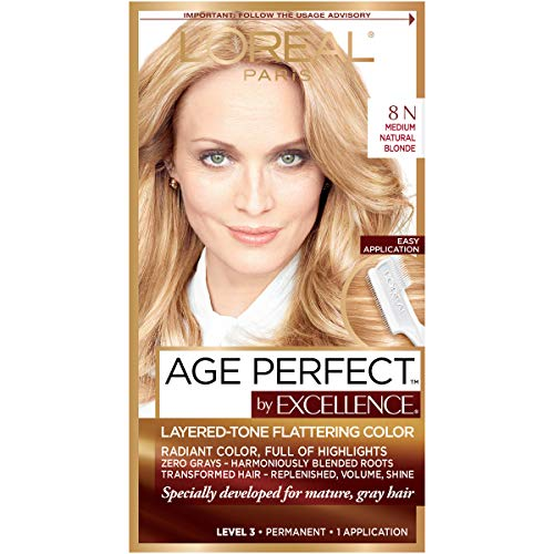 L'Oreal Paris Excellence Age Perfect Layered Tone Flattering Color, 8N Medium Natural Blonde Set (Packaging May Vary)