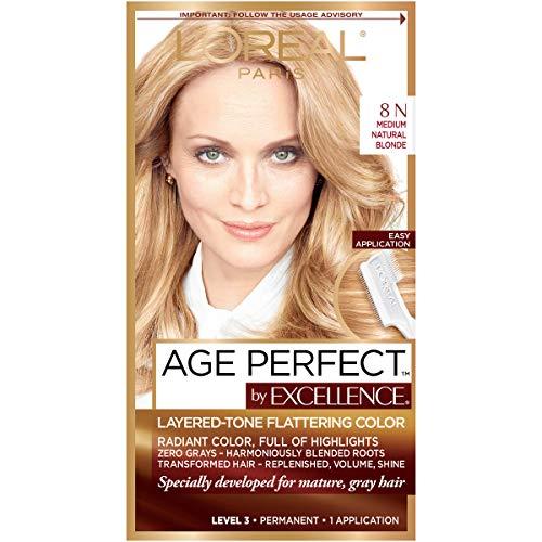 L'Oreal Paris ExcellenceAge Perfect Layered Tone Flattering Color, 8N Medium Natural Blonde