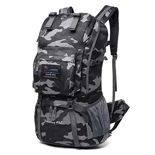 Mountaintop 40 Liter Hiking Backpack with Rain Cover for Outdoor Camping (Urban camouflage)