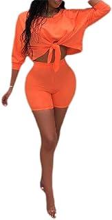 FSSE Women's Pure Color Crop Top Short Sleeve Outfits Bowknot 2 Pcs Jogger Tracksuit