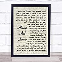 Always and Forever Song Lyric ビンテージスクリプト引用句プリント Large A3