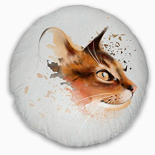 Designart Lovely Brown Cat Watercolor Sketch' Animal Throw Round Living Room, Sofa, High Quality pillow insert + Cushion Cover Printed On Both Side 20'