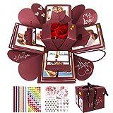 WisFox Explosion Box, Creativo Fai da Te a Sorpresa Esplosione Regalo Scatola, Scrapbooking Photo Album Gift Box per Il Compleanno di San Valentino Anniversary Wedding Festival di Natale(Rosso)