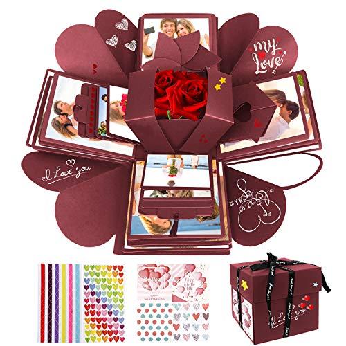 WisFox Explosion Box, Creativo DIY Hecho a Mano Sorpresa Explosión Caja de Regalo, Álbum de Fotos de Scrapbooking Caja de Regalo para Cumpleaños Día de San Valentín Aniversario Navidad (Rojo)