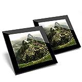 Impresionante juego de 2 posavasos de cristal – Machu Picchu Perú Andes Inca Glossy calidad posavasos/mantel de protección para cualquier tipo de mesa #3436