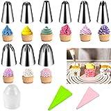 Set di decorazione per torte 30 pezzi - 26 ugelli per glassare tubazioni in acciaio inossidabile, 2 sacchetti per tubazioni in silicone riutilizzabili (30 set DIY)