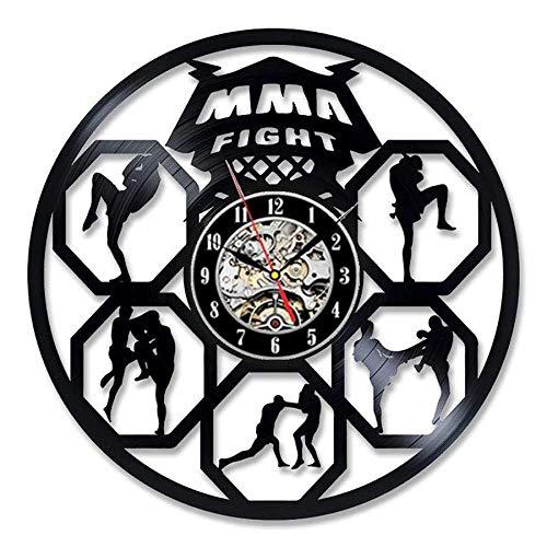 qweqweq Boxing Vinyl Record Wall Clock Modern Design Fighting Sports 3D Decoration Boxing Club Clock Wall Clock Home Decoration Boxer Gift