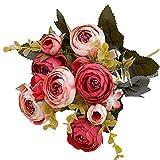 YTHX Flor Artificial 10 Cabezas / 1 Paquete De Té De Seda Rosa Ramo De Novia Navidad Hogar Boda Año Nuevo Decoración Flores ArtificialesRojo