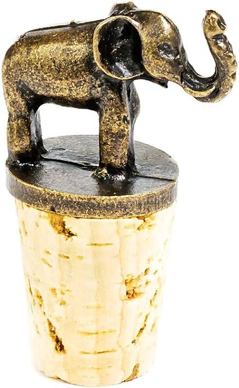 Elephant Antique Brass And Cork Bottle Stopper
