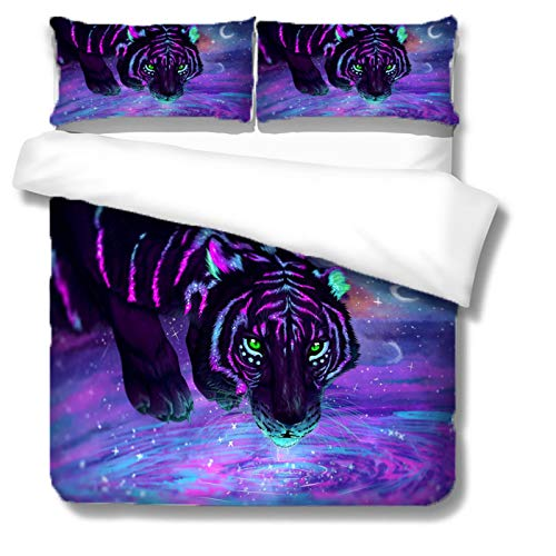 UDUVOG 3-Piece Single Duvet Cover, 135X200Cm 3D Printing Purple Animal Tiger Bedding Set Easy Care And Super Soft Microfiber Design, Hidden Zipper, Fade Resistance And Stain Resistance