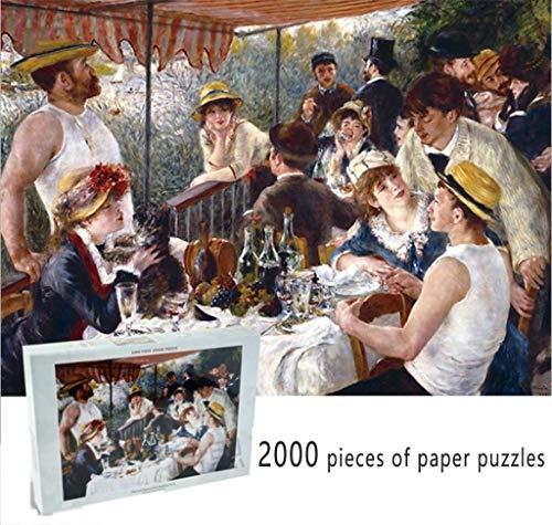 Jigsaw Puzzle 2000 Pezzi di Carta Adulti Giocattoli educativi Olio Parint Scenario for Bambini Bambini Home Decor Pranzo a Bordo di Pierre-Auguste Renoir