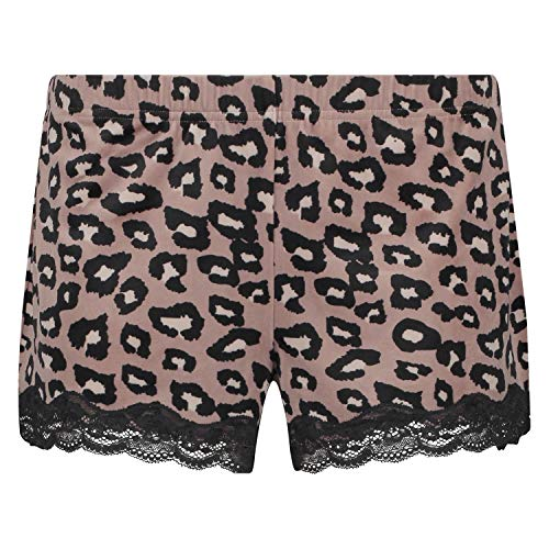 HUNKEMÖLLER Pyjama-Shorts in Velours, Leopard Rose L