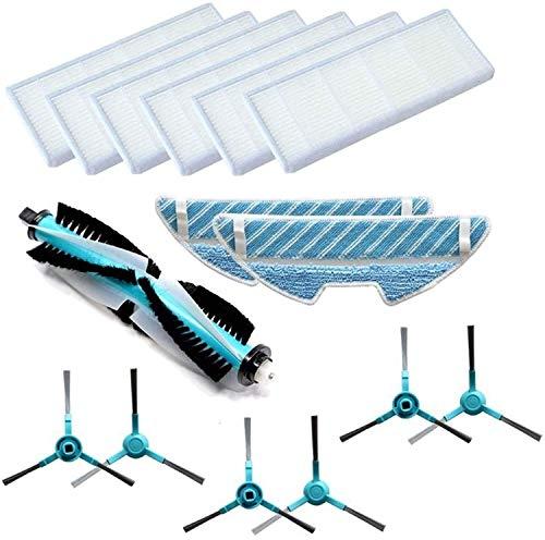 KTZAJO Cepillo principal del rodillo HEPA filtro lateral cepillo bolsas de polvo para IRobot Roomba I7 I7+ Plus E5 E6 Robot Partes de aspirador Piezas de repuesto Partes de aspirador (Color: 1 Whee