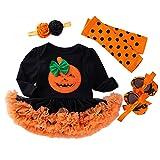 Xumplo Juego de 4 paquetes para bebé de Halloween, ropa de manga larga, ropa de calabaza, murciélago, niña recién nacido para bebés de 0 a 18 meses., Negro , 0-3 Meses