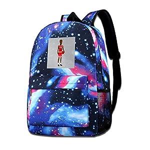 Mochila con estampado de galaxia Michael Jordan Body Pixel Fashion Casual Star Sky para niños y niñas