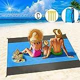 Alfombra De Playa, Grande Esterilla Playa 210 X 200 Cm, PortáTil Impermeable A Prueba De Arena Manta De Picnic, Manta De Playa Con 4 Clavos Fijos, Ideal Para La Playa, Camping, Senderismo