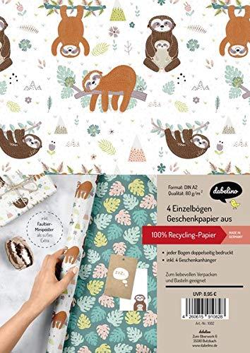 Geschenkpapier-Set für Kinder: Faultier: 4x Einzelbögen + 4x Geschenkanhänger