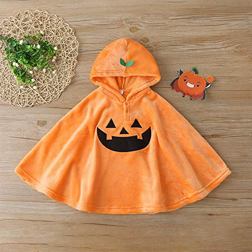 Kleinkind Halloween Kostüm Kürbis Umhang Umhang Kinder Hut Decke Cute Cartoon Kapuzen Poncho Baby Halloween Cosplay Tuch für Kinder Junge Mädchen (100cm)