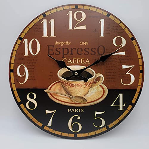 HADAAYA MDF Wood 13 Inches, Round Paris Coffee Cup Espresso Decorative Wall Clock for Kitchen, Living Room, Bedroom, Office, Coffee Shop - Cafe Home Decor