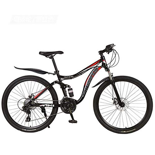 SWORDlimit 26 Inch Wheels Mountain Bike Bicycle, High Carbon Steel Frame MTB Bike Dual Suspension with Adjustable Seat, Double Disc Brake,A,27 Speed