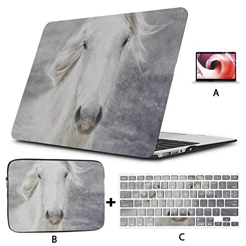 MacBook 15 Case Camargue Horse Laptop Case Mac Hard Shell Mac Air 11'/13' Pro 13'/15'/16' with Notebook Sleeve Bag for MacBook 2008-2020 Version