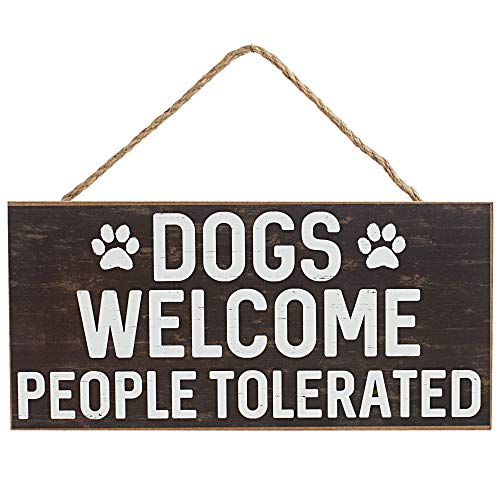 """GiftWrap Etc. Dogs Welcome People Tolerated Sign - 12.5"""" x 6"""", Brown Wood Board, Dog Lover, Wreath, Yard Decoration, Office Decor, Home, Kitchen, Front Door, Patio"""