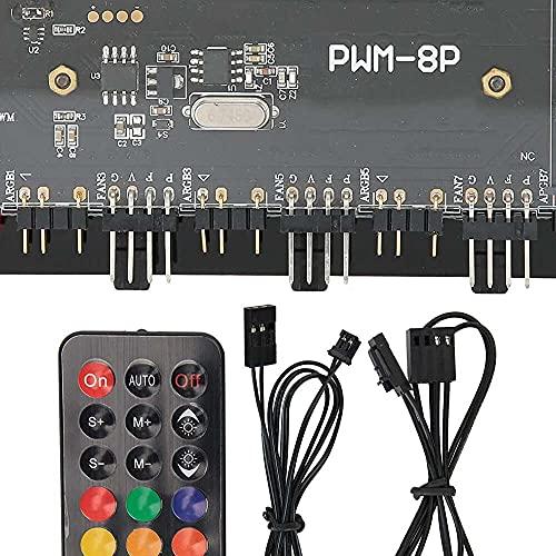 Yuyanshop Ventilador de computadora HUB PWM+ARGB 2 en 1 ARGB integrador ventilador de refrigeración con control remoto inalámbrico para sistema de refrigeración de computadora