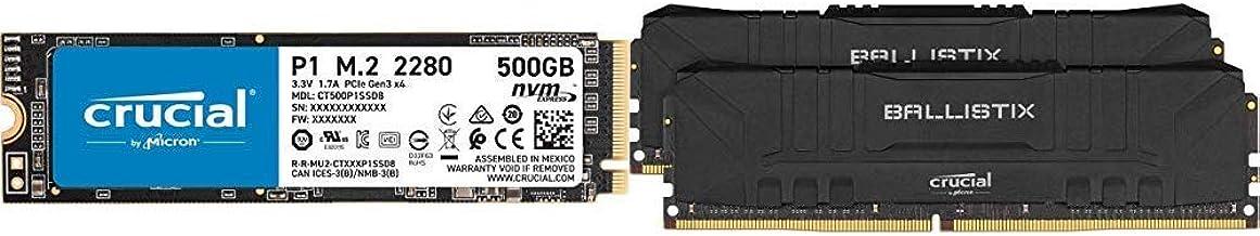 Crucial P1 500GB 3D NAND NVMe PCIe M.2 SSD - CT500P1SSD8 w/Crucial Ballistix 3200 MHz DDR4 DRAM Desktop Gaming Memory Kit 16GB (8GBx2) CL16 BL2K8G32C16U4B (Black)