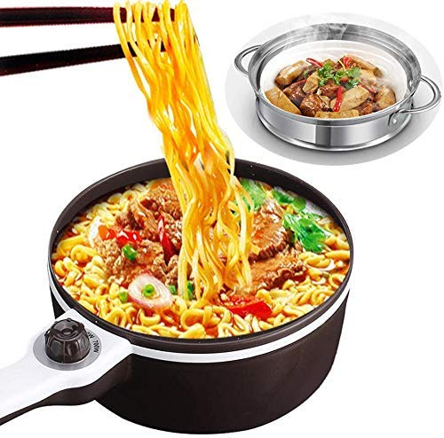 Elektro Hot Pot, Mini Multifunktions-Elektro-Koch, Double-Layer-Non-Stick Sauteacute;Pan, Schnelle Nudeln Herd, for Steak, Ei, gebratenen Reis, Ramen, Haferflocken FEOPW lalay
