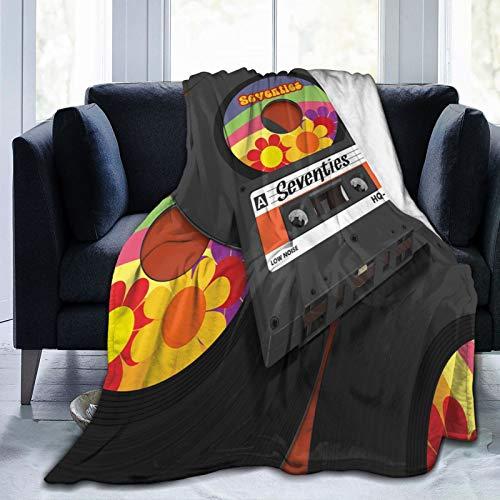 LOSUMIGE Casete de música Vinilo 70 impresión Twin/Double (150x200cm) Manta de Franela Ligera y cálida Suave y cálida para Cama o sofá