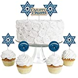 Happy Passover - Dessert Cupcake Toppers - Pesach Jewish Holiday Party Clear Treat Picks - Set of 24