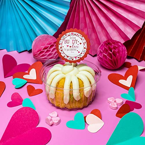 """Nothing Bundt Love For You Valentine Party Favor Sticker Labels for Kids, 40 2"""" Party Circle Stickers by AmandaCreation, Great for Classroom Valentines, Envelope Seals, Gifts & Treats"""