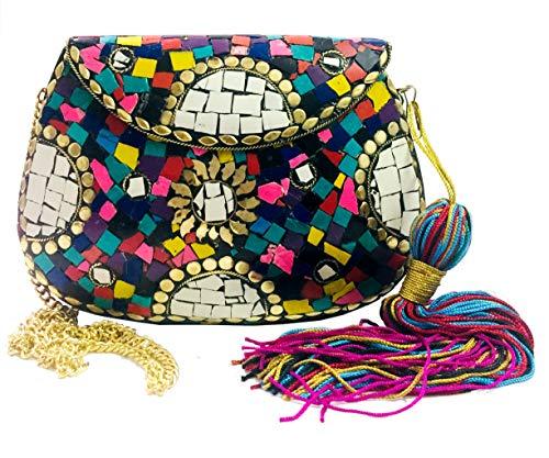 Gauri Bolso de piedra multicolor borlas étnicas embrague indio antiguo bolso bolsa de mosaico bolsa de metal embrague partido embrague bolsa de latón