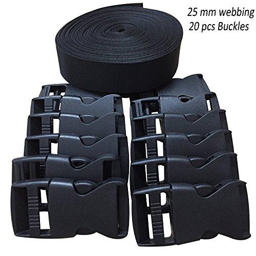 RETON 25MM 10 Yards Schwarz Nylon Gurtband + 20 Stück (2.1 x 1 Zoll) Verstellbare Schnallen Kunststoff Seitenschnallen