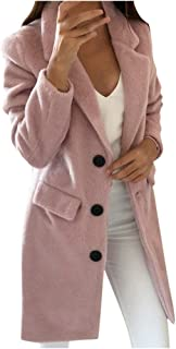 🍒 Spring Color 🍒 Womens Fuzzy Fleece Lapel Single Breasted Trench Coat Faux Fur Warm Winter Outwear Jackets with Pocket