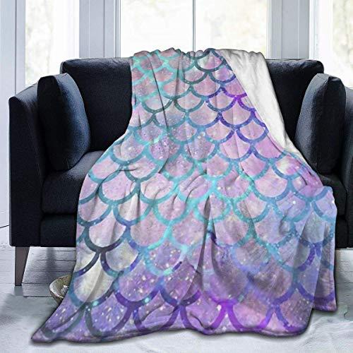 SH1688 Flanell-Fleecedecke, Meerjungfrauen-Motiv, wendbar, superweich, warm, gemütlich, für alle Jahreszeiten, für Wohnzimmer, Schlafzimmer, Geschenke, 127 x 152 cm