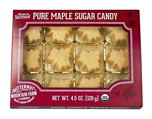 Butternut Mountain Farm 100% Pure Organic Maple Sugar Candy From Vermont All Natural 12 Leaf Candies 45 oz Box