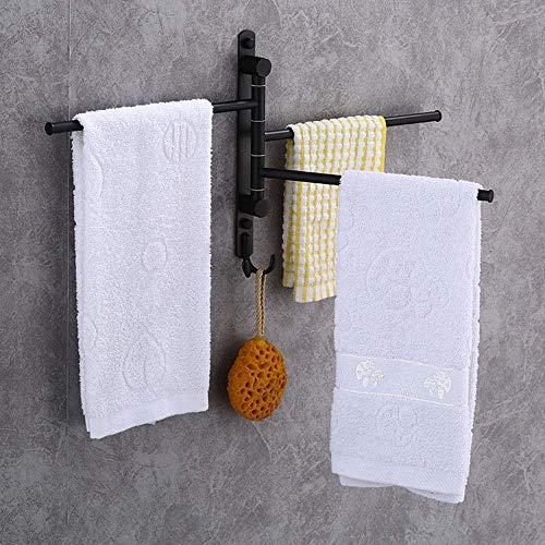 Toallero Sus 304 Acero Inoxidable 3 Brazos Colgador de Columpio para baño Soporte de Toalla Soporte de Pared Acabado Cepillado para baño de Cocina (Color: Negro, tamaño: 30,3x3,5x29 cm)